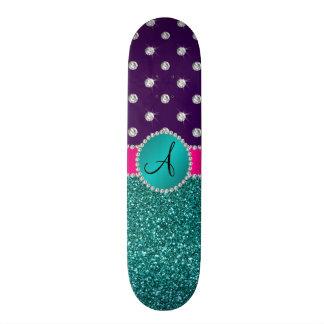 Diamants de pourpre de scintillement de turquoise skateboards personnalisés