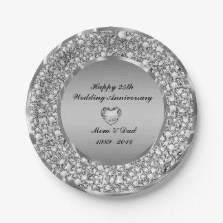 Diamants et 25ème anniversaire de mariage d'argent assiettes en papier