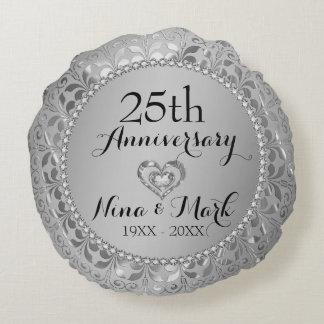 Diamants et 25ème anniversaire de mariage d'argent coussins ronds