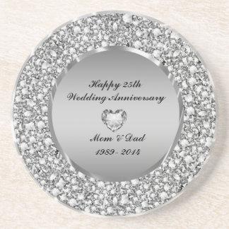 Diamants et 25ème anniversaire de mariage d'argent dessous de verres
