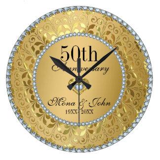 Diamants et anniversaire de mariage d'or grande horloge ronde