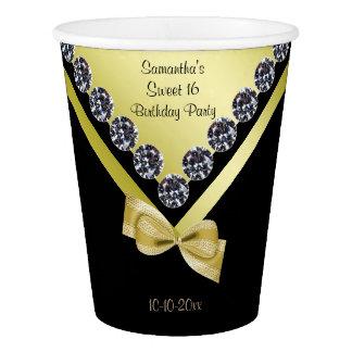 Diamants et bonbon scintillants 16 à arc d'or gobelets en papier