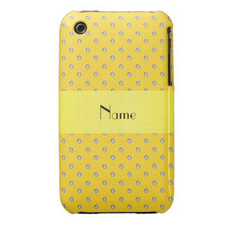 Diamants jaunes nommés personnalisés coque iPhone 3 Case-Mate