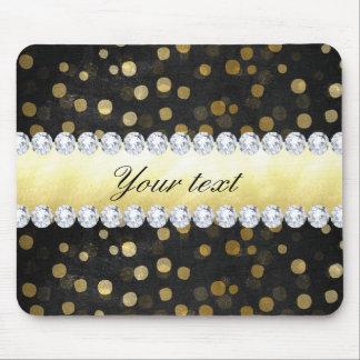 Diamants noirs de confettis d'or de tableau tapis de souris