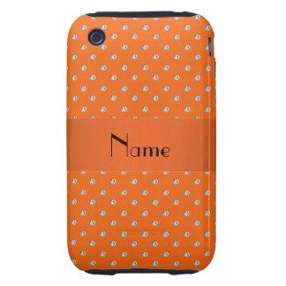 Diamants oranges nommés personnalisés étui iPhone 3 tough