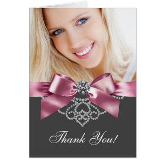 Diamants roses et cartes noires de Merci de photo