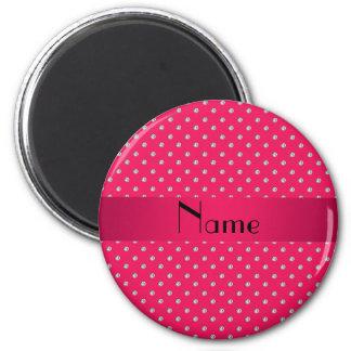 Diamants roses nommés personnalisés magnet rond 8 cm