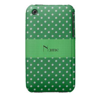 Diamants verts nommés personnalisés coque Case-Mate iPhone 3