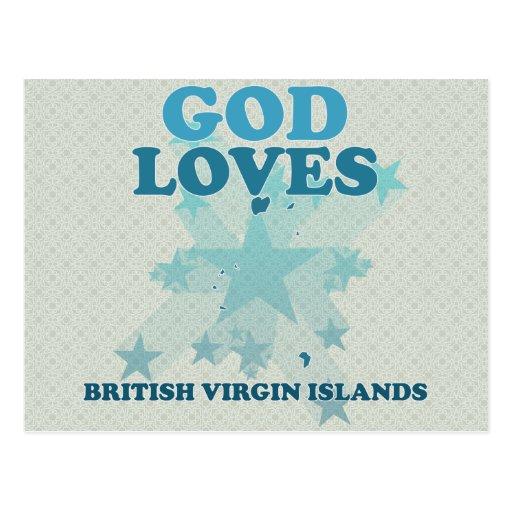 Dieu aime les Îles Vierges britanniques Carte Postale