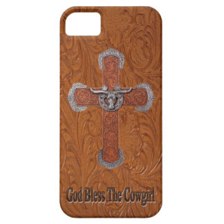 Dieu bénissent le cas d'IPhone 5 de cuir de cow-gi Étuis iPhone 5