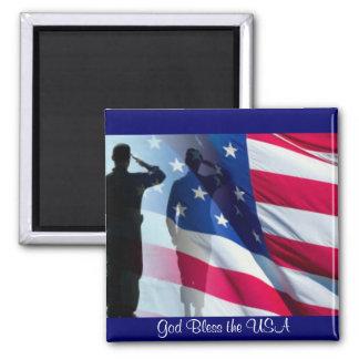 Dieu bénissent le drapeau américain des Etats-Unis Aimant