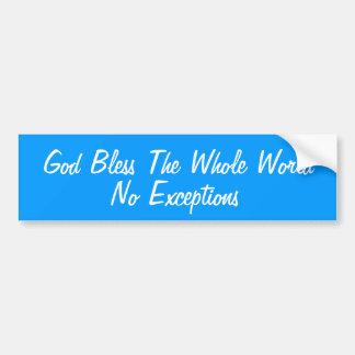 Dieu bénissent le monde entier autocollant pour voiture