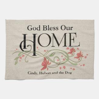 Dieu bénissent notre maison : Personnalisé Serviette Éponge