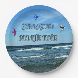 Dieu est bon tout le temps assiettes en papier
