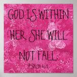 Dieu est dans son 46:5 de psaume de vers de bible affiches