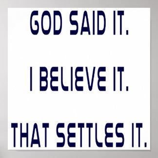 Dieu simple l'a dit poster