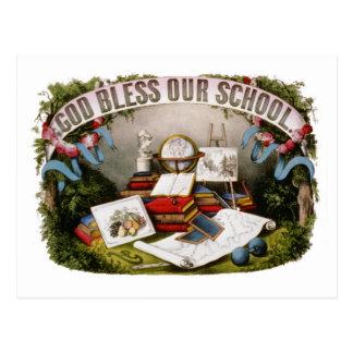 Dieu vintage bénissent notre illustration 1874 d'é carte postale