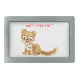 Dieu vous aime bébé sauvage de guépard de jungle boucles de ceinture rectangulaires