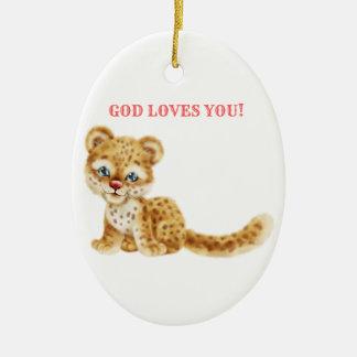 Dieu vous aime bébé sauvage de guépard de jungle ornement ovale en céramique