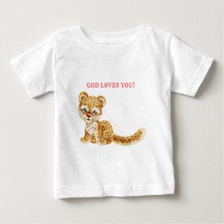 Dieu vous aime bébé sauvage de guépard de jungle t-shirt pour bébé