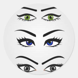 Différents types de yeux des femmes sticker rond