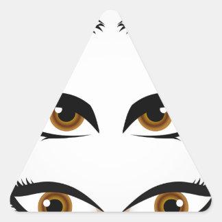 Différents types de yeux des femmes sticker triangulaire