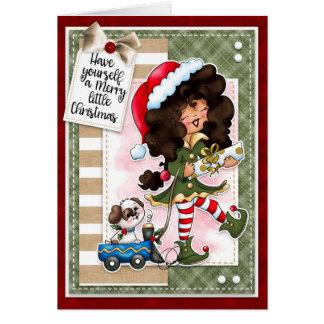 Digi gribouille la carte de voeux d'Elf de Noël