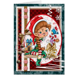 Digi gribouille la carte de voeux d'Elf de Noël de