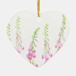 Digitales roses d'aquarelle ornement cœur en céramique
