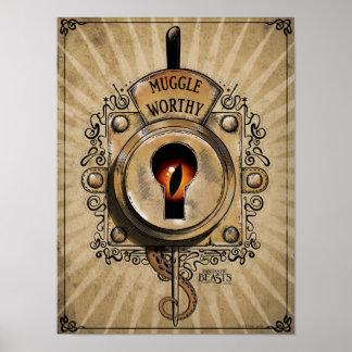Digne serrure de Muggle avec la bête fantastique Posters