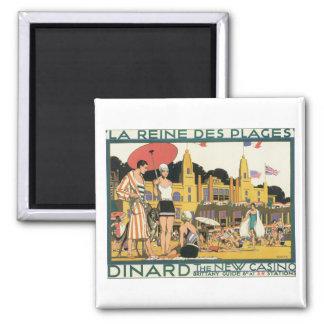 Dinard l'affiche vintage de voyage de nouveau casi magnet carré