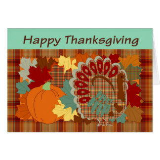 Dinde de plaid de thanksgiving carte de vœux