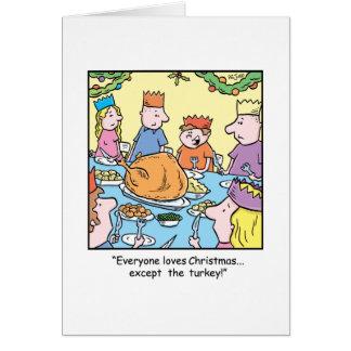 Dîner de la Turquie de bande dessinée de Noël Carte De Vœux