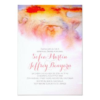 Dîner de répétition d'aquarelles de coucher du carton d'invitation  12,7 cm x 17,78 cm