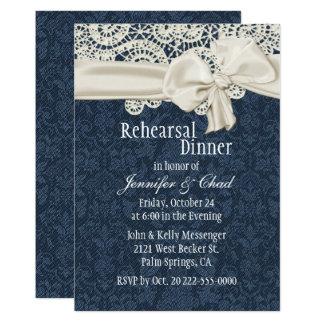 Dîner de répétition de mariage de dentelle de carton d'invitation  12,7 cm x 17,78 cm