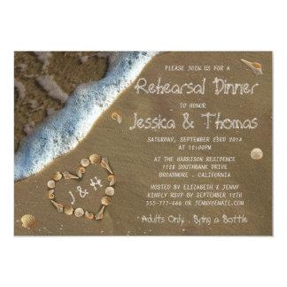 Dîner de répétition de mariage de plage de coeur carton d'invitation  12,7 cm x 17,78 cm
