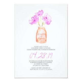 DÎNER de RÉPÉTITION floral pourpre d'aquarelle Carton D'invitation 12,7 Cm X 17,78 Cm