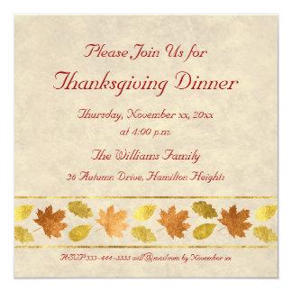 Dîner de thanksgiving carton d'invitation  13,33 cm