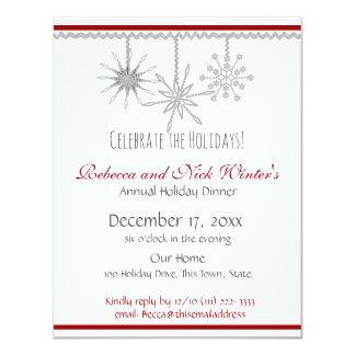 Dîner de vacances de flocons de neige carton d'invitation 10,79 cm x 13,97 cm