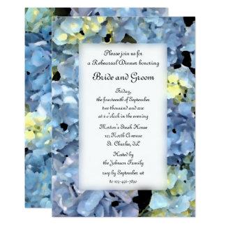 Dîner floral de répétition de mariage d'hortensia carton d'invitation  12,7 cm x 17,78 cm