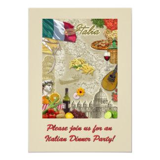 Dîner italien carton d'invitation  12,7 cm x 17,78 cm