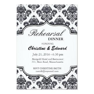 Dîner noir et blanc de répétition de mariage carton d'invitation  12,7 cm x 17,78 cm