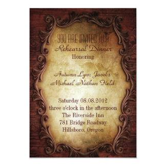 dîner occidental rustique de répétition de mariage carton d'invitation  12,7 cm x 17,78 cm
