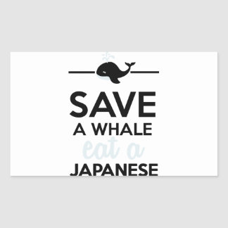 Diner - sauvez une baleine mangent un japonais autocollants rectangulaires