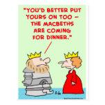 dîner shakespeare de macbeths d'armure de reine de carte postale