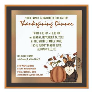 Dîner tiré à quatre épingles de thanksgiving carton d'invitation  13,33 cm