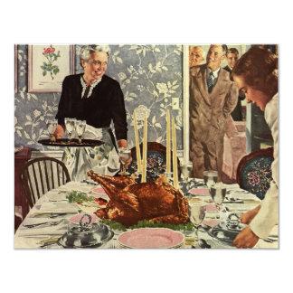 Dîner vintage de la Turquie de jour de Carton D'invitation 10,79 Cm X 13,97 Cm