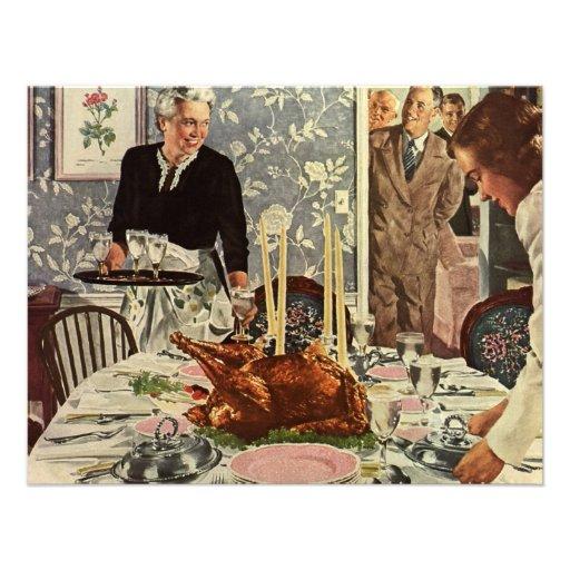 Dîner vintage de la Turquie de jour de thanksgivin Faire-part Personnalisables