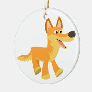 Dingo mignon de bande dessinée ornement rond en céramique