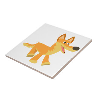Dingo mignon de bande dessinée petit carreau carré
